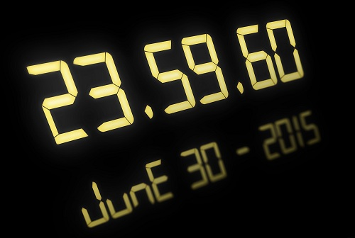 Digital clock for the event of the 30th of June 2015 when we get a extra second, illustration